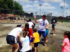 6th District Councilman Bobby Henon launching water balloons at Vogt Rec Center's Pop-Up event.